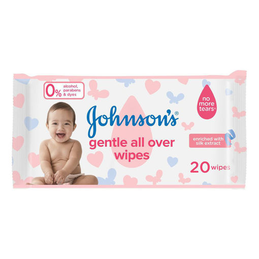 Picture of مناديل مبللة جونسون لتنظيف لطيف كامل بشرة الطفل - 20 قطعة