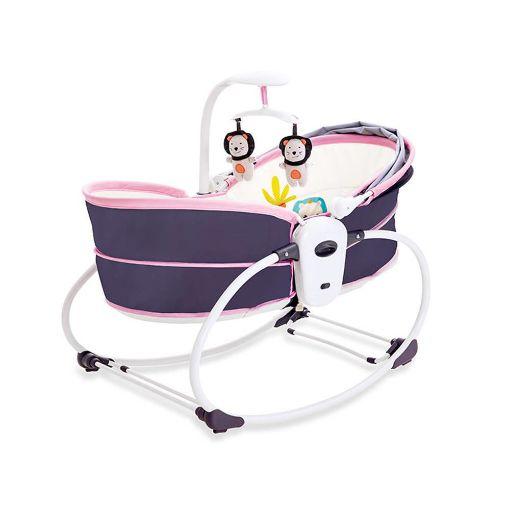 Picture of سرير وكرسي هزاز ماستيلا 5 في 1 للأطفال موف×بينك